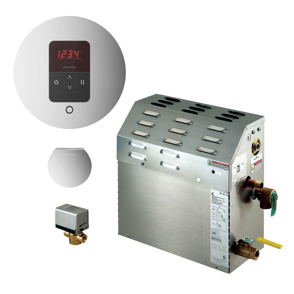9kW Steam Bath Generator with iTempo AutoFlush Round Package in Polished