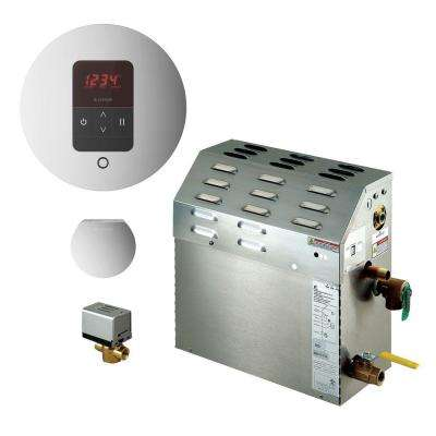 9kW Steam Bath Generator with iTempo AutoFlush Round Package in Polished Chrome