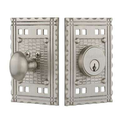 Craftsman Plate 2-3/4 in. Satin Nickel Backset Single Cylinder Deadbolt in Satin Nickel