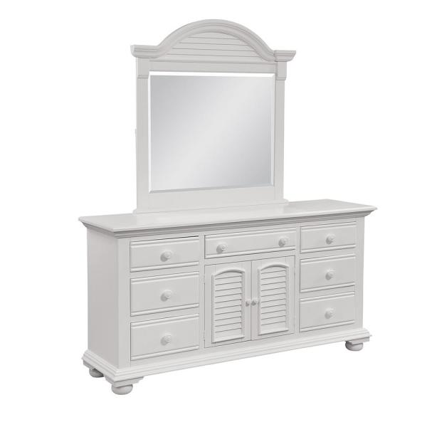 Cottage Traditions  7-Drawer Antique White Triple Dresser and Dressing Mirror Combo