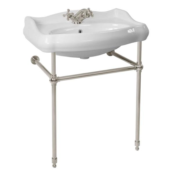 Nameeks 1837 Ceramic Console Bathroom Sink In White With Satin Nickel Stand Cerastyle 030200 Con Sn One Hole The Home Depot