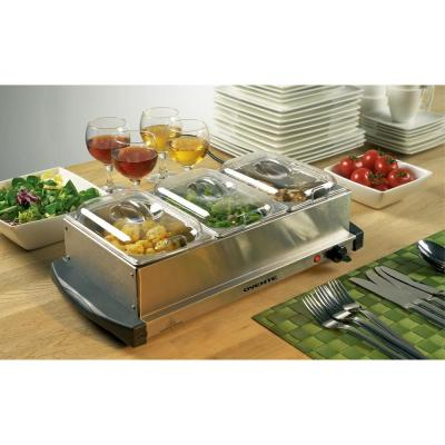Mini 3-Tray Buffet Server and Food Warmer with Stand Alone Warmer Tray
