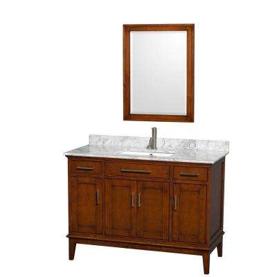 Hatton 48 in. Vanity in Light Chestnut with Marble Vanity Top in Carrara White, Square Sink and 24 in. Mirror