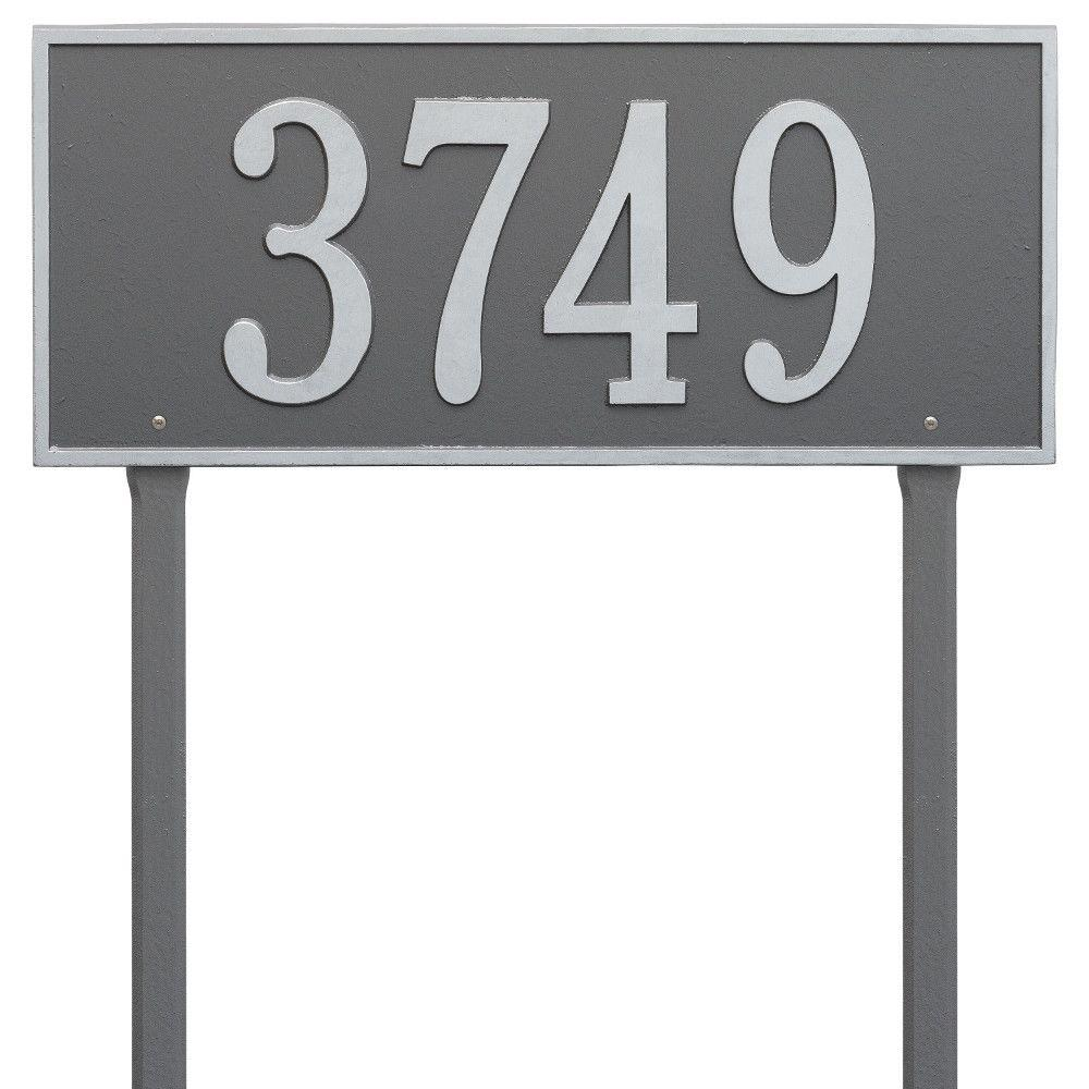 Whitehall Products Hartford Rectangular Pewter/Silver Estate Lawn 1-Line Address Plaque
