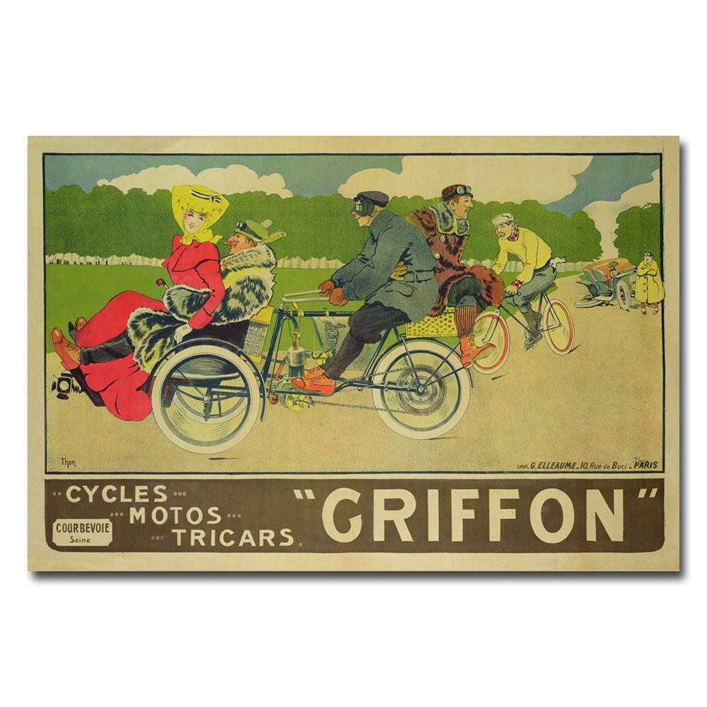 30 in. x 47 in. Griffon Cycles Motors & Tricars Canvas