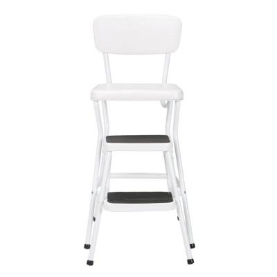24 in. White Cushioned Bar Stool