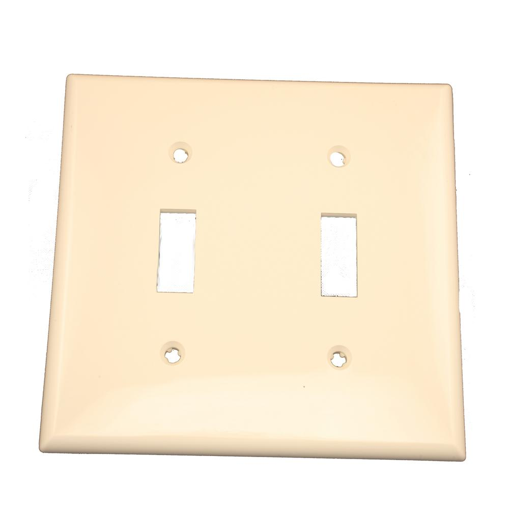 2-Gang 2-Toggle Standard Size Heavy Duty Nylon Wall Plate, Light Almond
