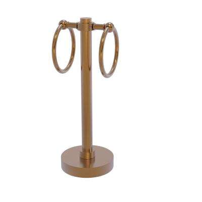 Vanity Top 2 Towel Ring Guest Towel Holder with Groovy Accents in Brushed Bronze