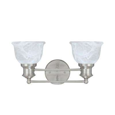 2-Light Brushed Nickel Vanity Light with Faux Alabaster Glass Shade