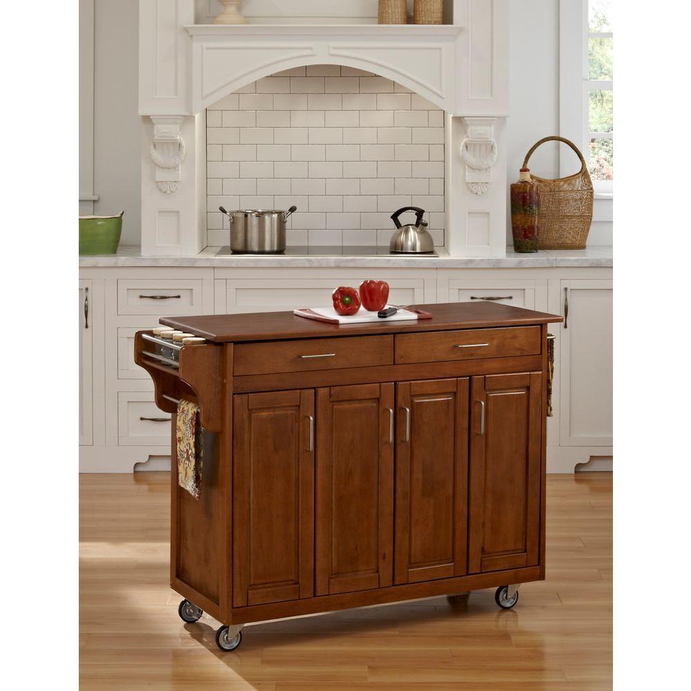 Create-a-Cart Warm Oak Kitchen Cart With Towel Bar