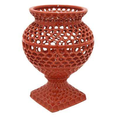 12 in. Decorative Red Ceramic Pierced Decorative Vase with Glossy