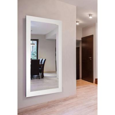 Oversized Rectangle Polished White Modern Mirror (70 in. H x 37 in. W)