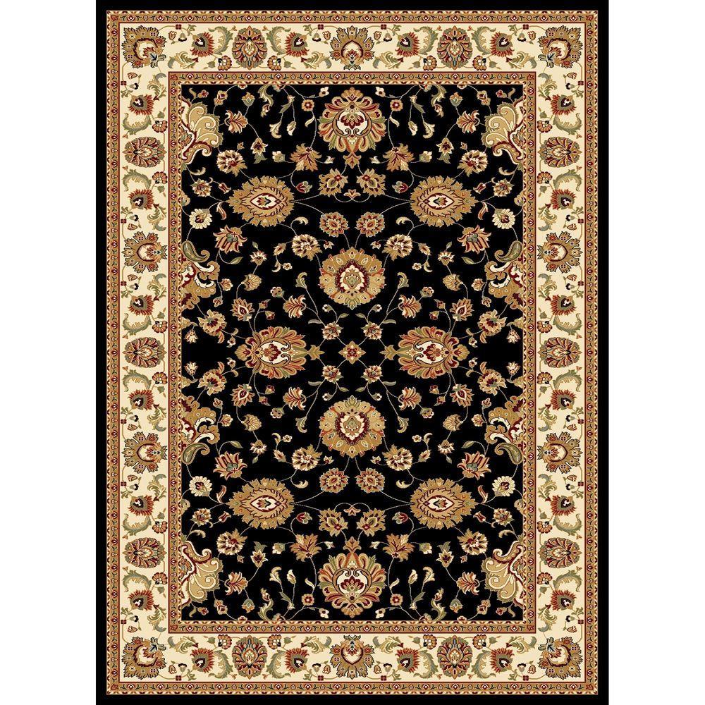 Concord Global Trading Williams Collection Sultan Black 6 ft. 7 in. x 9 ft. 6 in. Area Rug