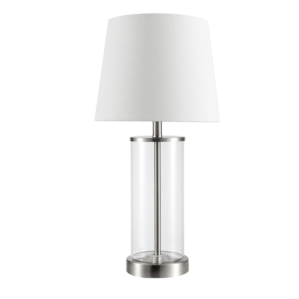 GLOBEELECTRIC Globe Electric Maya 21 in. Fillable Clear Glass Table Lamp with White Linen Shade