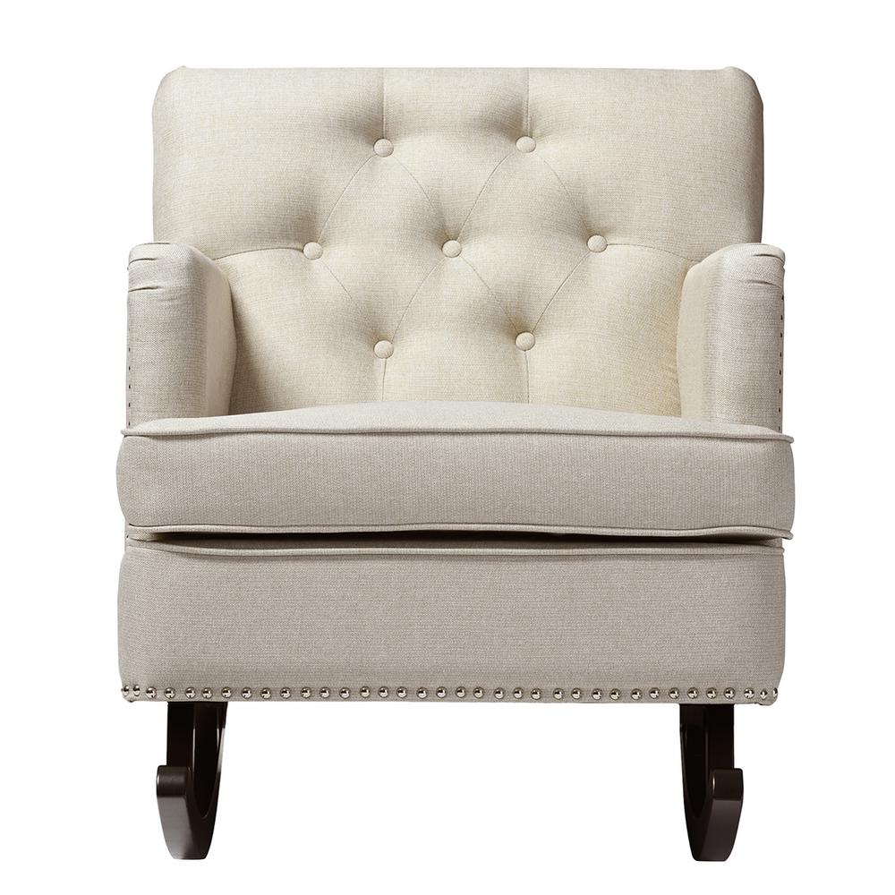 Baxton Studio Bethany Contemporary Beige Fabric Upholstered Rocking Chair