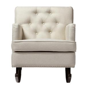 Bethany Contemporary Beige Fabric Upholstered Rocking Chair