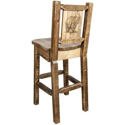 Homestead Collection 30 in. Early American Laser Engraved Bear Motif Bar Stool with Back