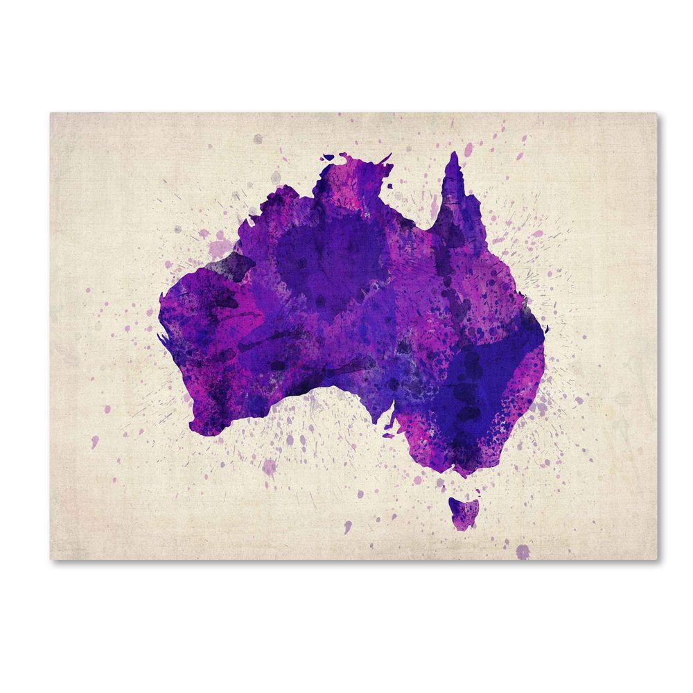 14 in. x 19 in. Australia Paint Splashes Map Canvas Art