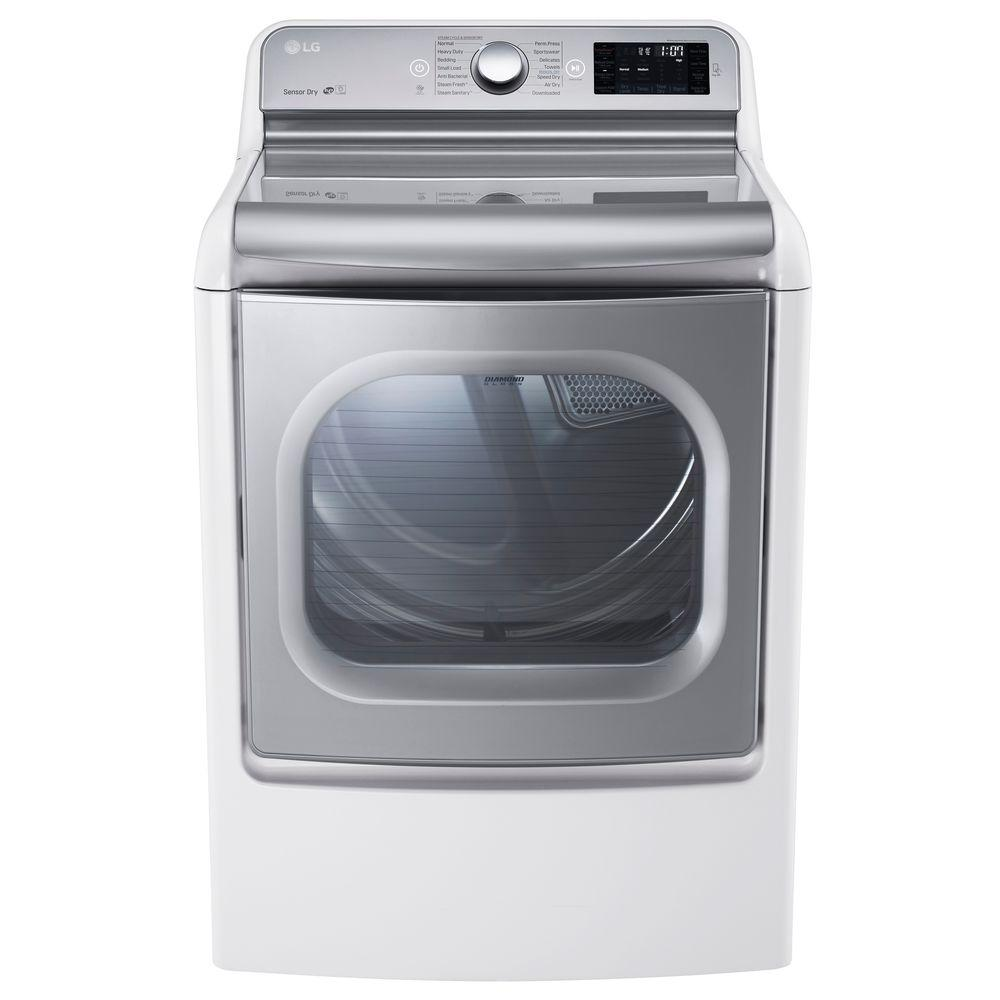 Gas Dryer with EasyLoad and Steam in White