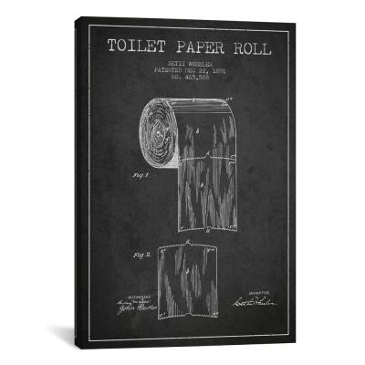 """""""Toilet Paper Charcoal Patent Blueprint"""" by Aged Pixel Canvas Wall Art"""