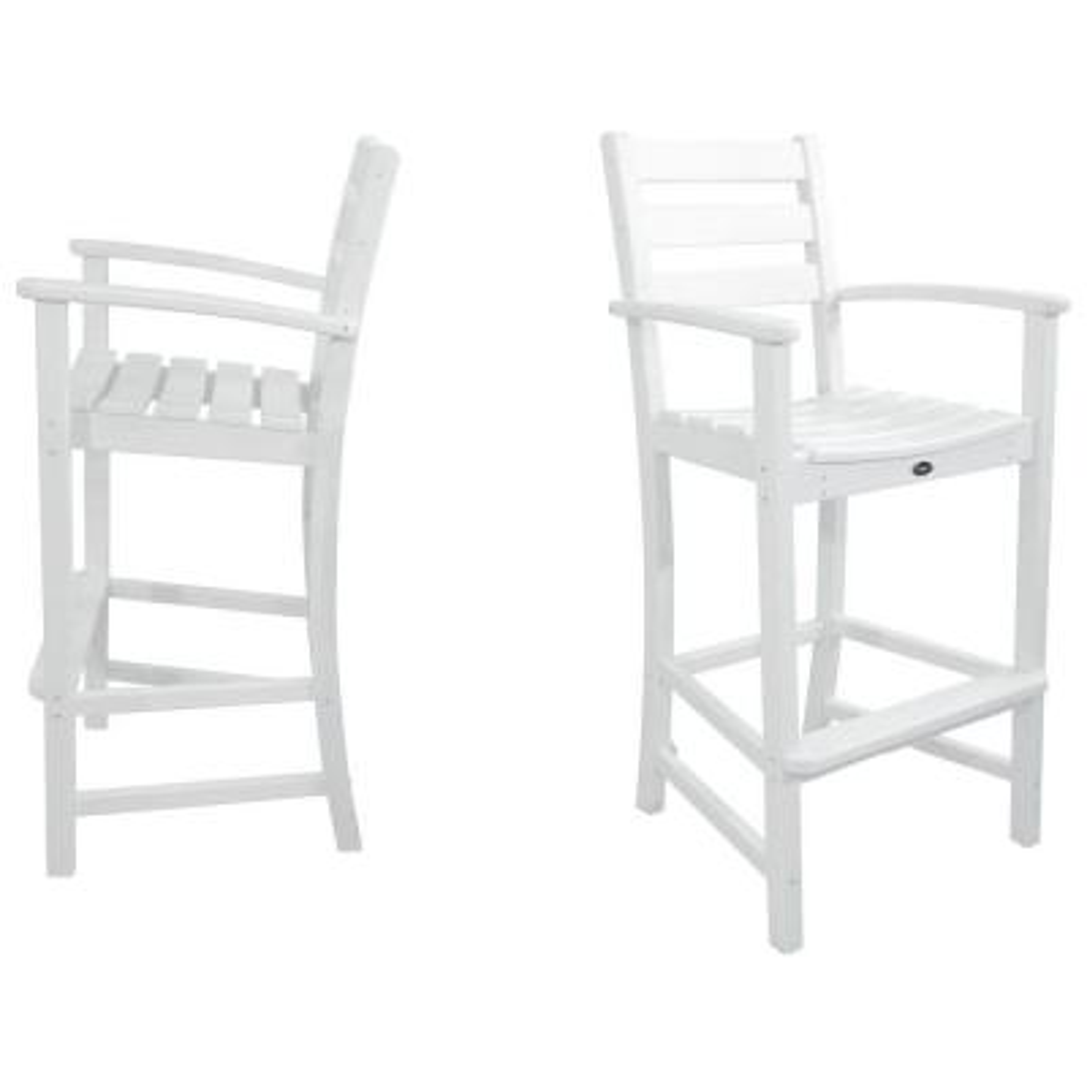 Monterey Bay Classic White 2-Piece Patio Bar Chair Set