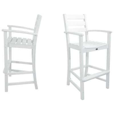 Monterey Bay Classic White 2-Piece Patio Bar Chair Set