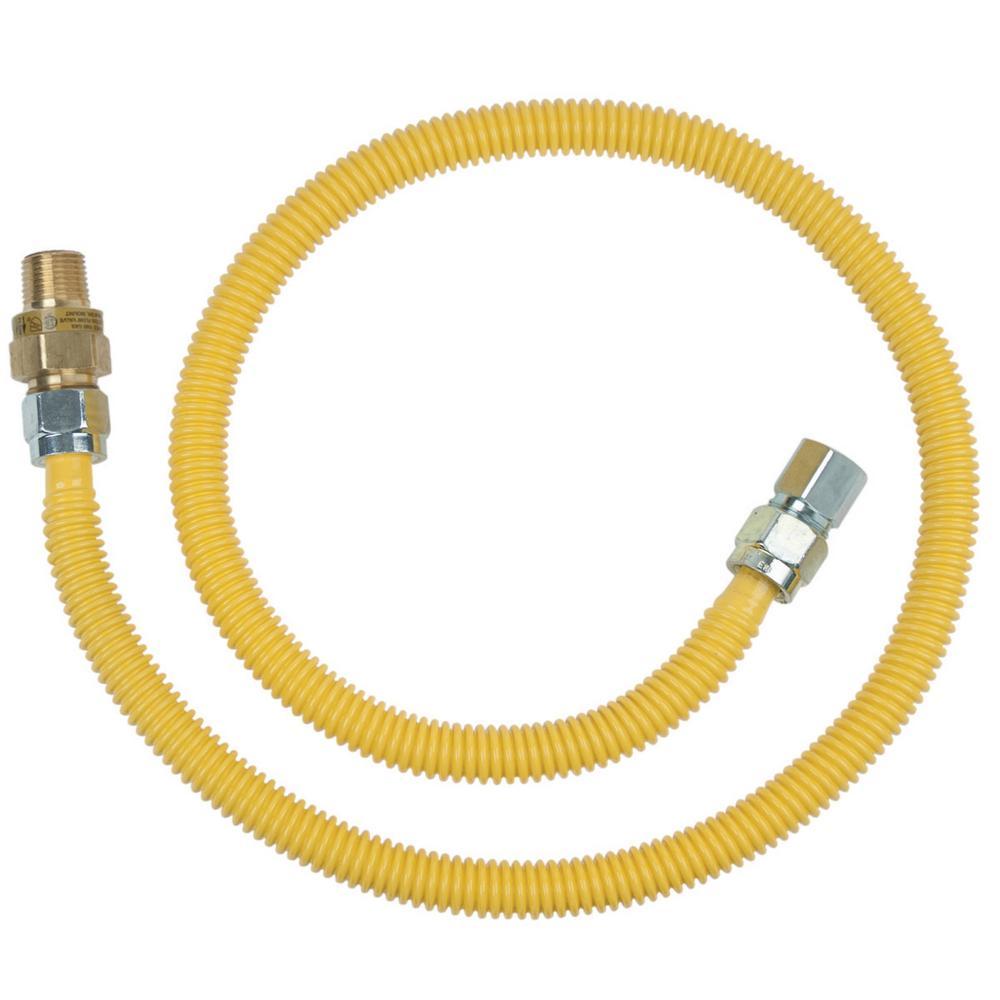 BrassCraft 1/2 in. MIP x 1/2 in. MIP x 48 in. Gas Connector (1/2 in. OD) w/Safety+Plus2 Thermal Excess Flow Valve (106,000 BTU)