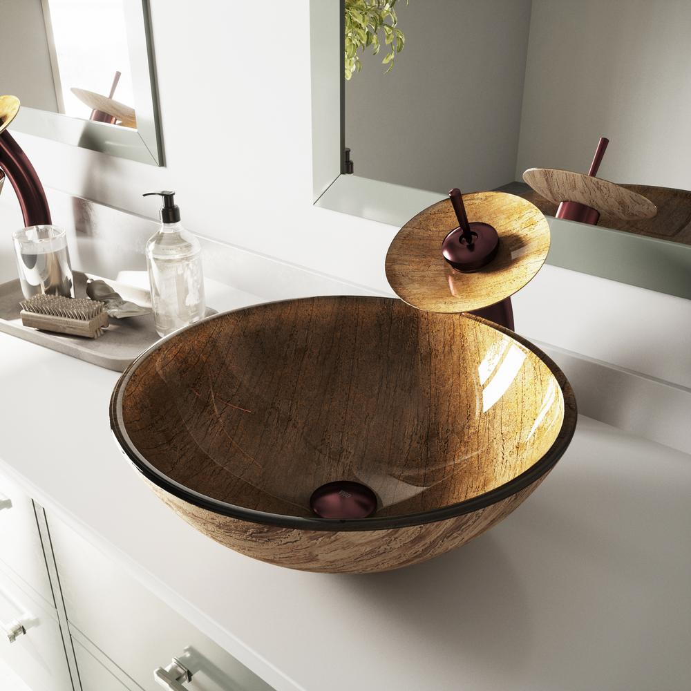 Vigo Gl Vessel Bathroom Sink In Amber Sunset With Waterfall Faucet Set Oil Rubbed Bronze