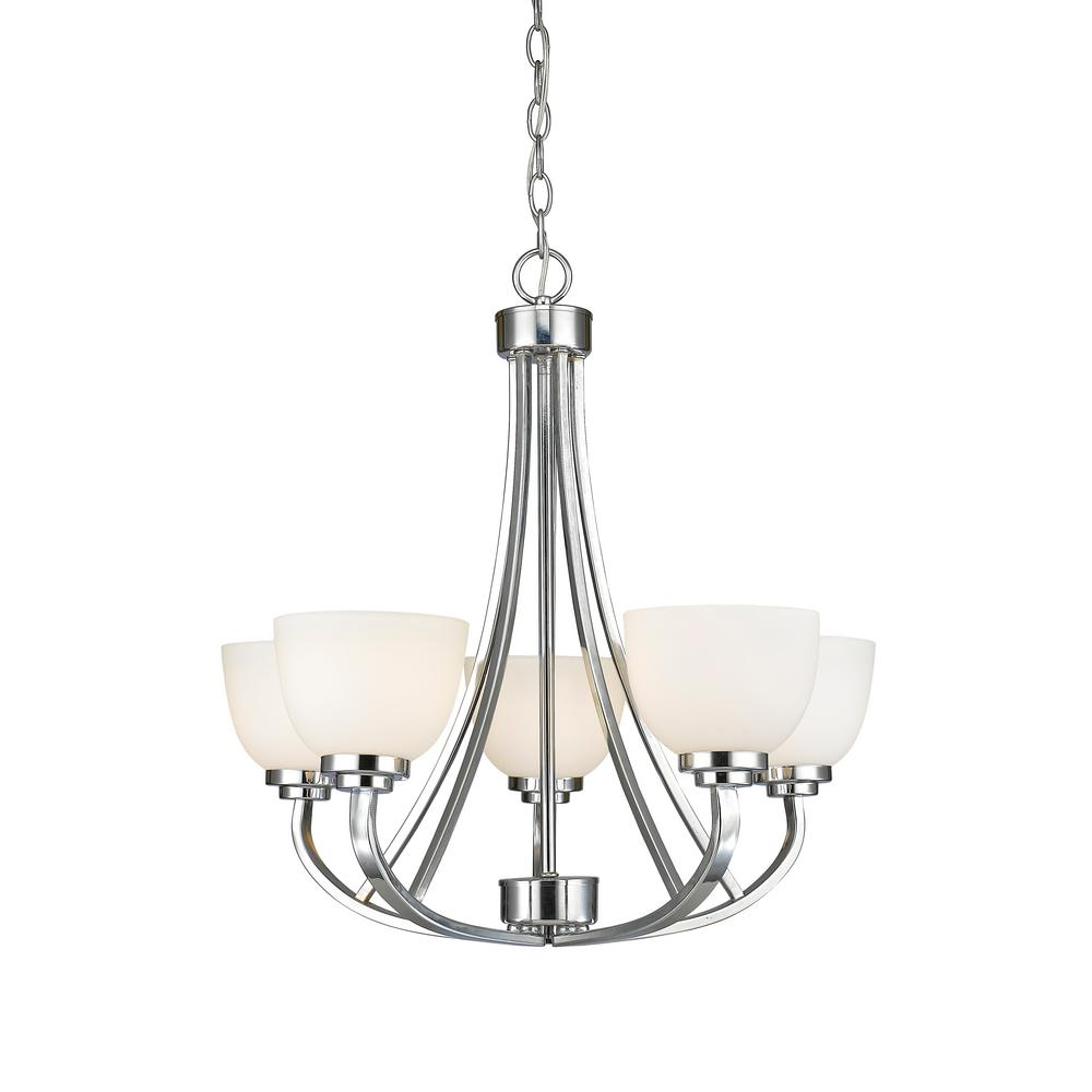 Burren 5-Light Chrome Chandelier with Matte Opal Glass Shade