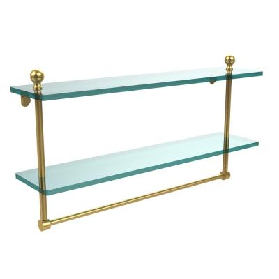 Mambo 22 in. L  x 12 in. H  x 5 in. W 2-Tier Clear Glass Bathroom Shelf with Towel Bar in Polished Brass