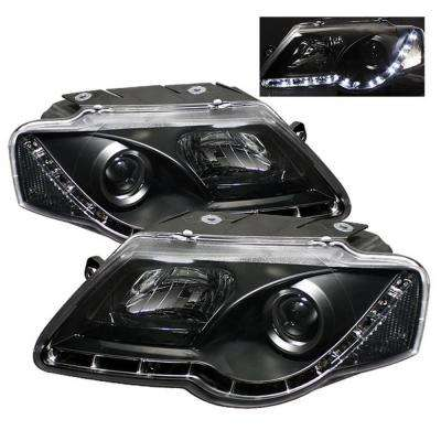 Volkswagen Passat 06-08 Projector Headlights - DRL - Black - High H1 (Included) - Low H1 (Included)