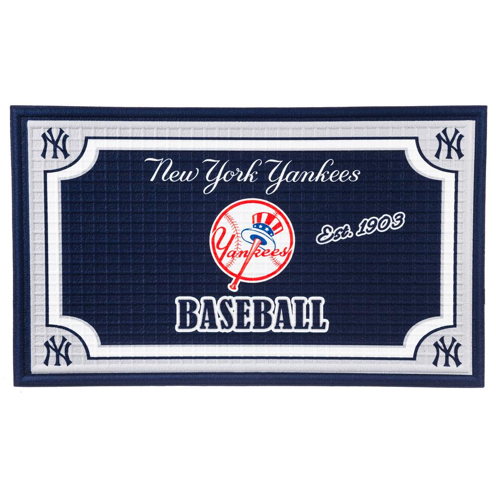 Great Evergreen New York Yankees 18 In. X 30 In. Embossed Welcome Mat