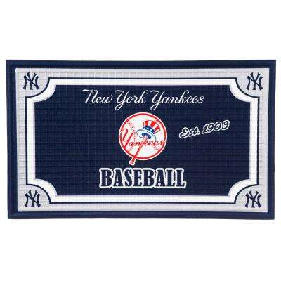 New York Yankees 18 in. x 30 in. Embossed Welcome Mat