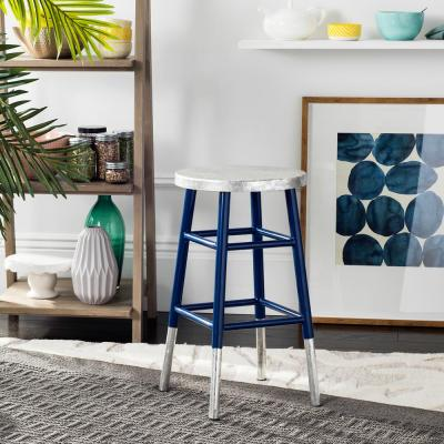 Kenzie 24 in. Silver Dipped Counter Stool in Navy