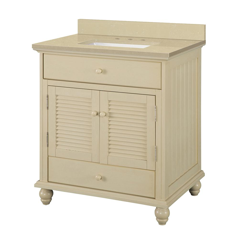 Home Decorators Collection Cottage 31 in. W x 22 in. D Vanity in Antique White with Engineered Marble Vanity Top in Crema Limestone with Sink