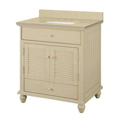 Cottage 31 in. W x 22 in. D Vanity in Antique White with Engineered Marble Vanity Top in Crema Limestone with Basin