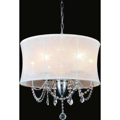 Charlotte 6-Light Chrome Chandelier with White shade
