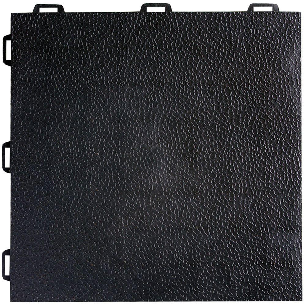 Greatmats StayLock Orange Peel Top Black 12 in. x 12 in. x 0.56 in. PVC Plastic Interlocking Basement Floor Tile