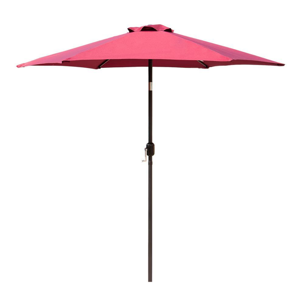 10 ft. Crank-Tilt Market Outdoor Garden Patio Beach Umbrella in Red