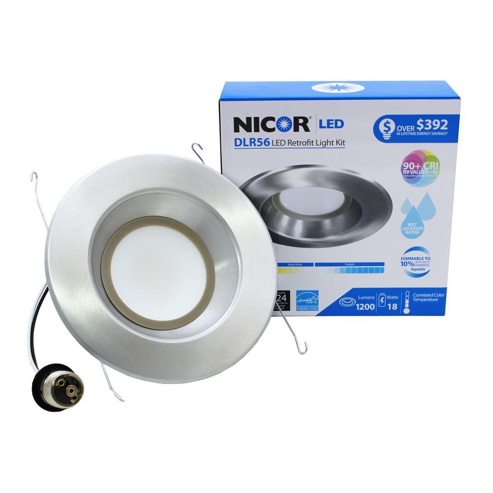 DLR Series 6 in. Nickel 1200 Lumens Integrated LED Downlight Retrofit Recessed Trim Kit, 5000K
