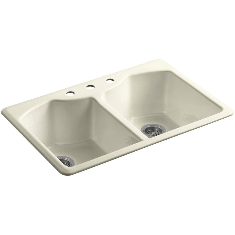 KOHLER Bellegrove Drop-In Cast-Iron 33 in. 3-Hole Double Bowl Kitchen Sink with Accessories in Cane Sugar