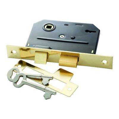 Polished Brass Bit Key Mortise Lock