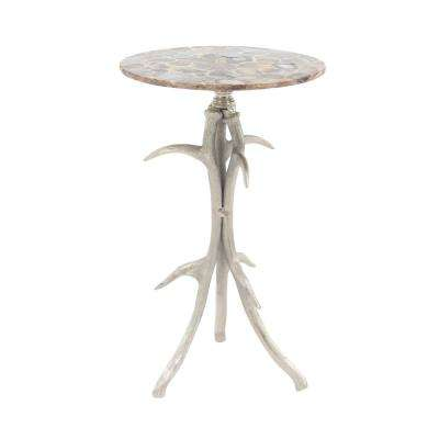 Brown Round Side Table with Antler Tripod Base