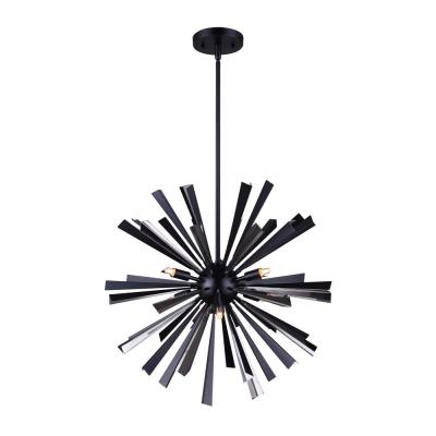 Madina 6-Light Matte Black and Chrome Chandelier