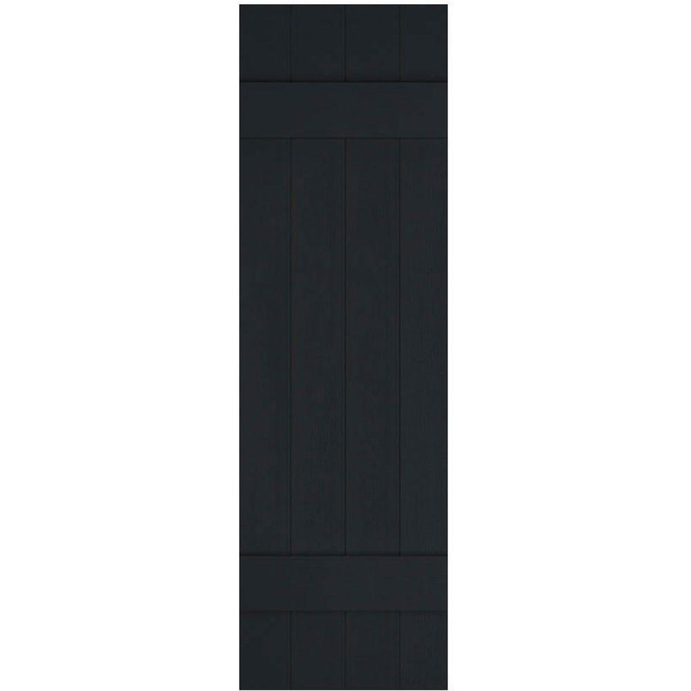 Ekena Millwork 14 in. x 35 in. Lifetime Vinyl Standard Four Board Joined Board and Batten Shutters Pair Black