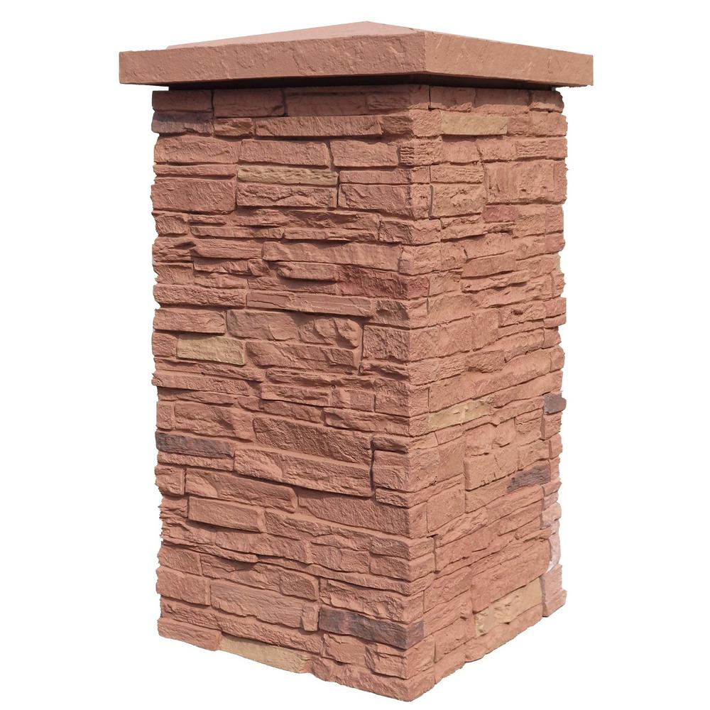 Slatestone Arizona Red 30 in. x 16 in. Faux Polyurethane Stone