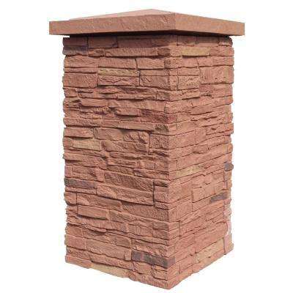 Slatestone Arizona Red 30 in. x 16 in. Faux Polyurethane Stone Column Wrap (4-Piece)