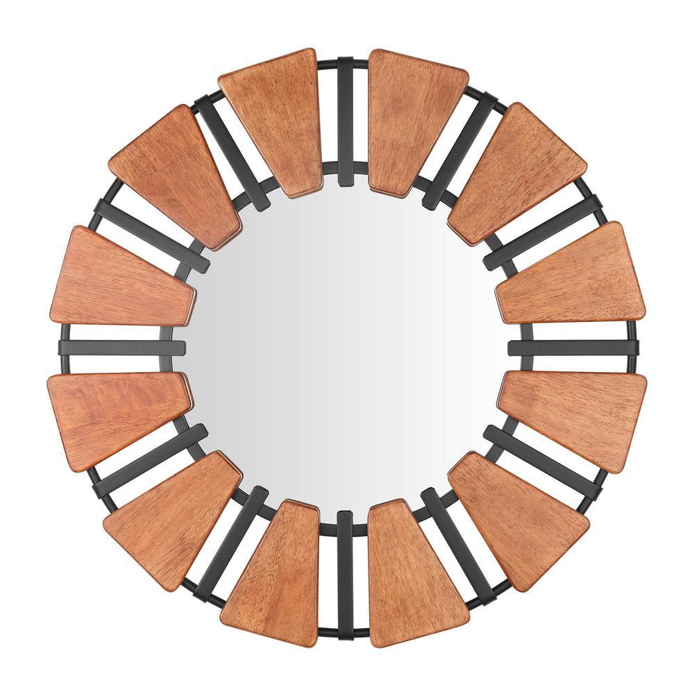 Medium Round Brown Antiqued Farmhouse Accent Mirror (31 in. Diameter)