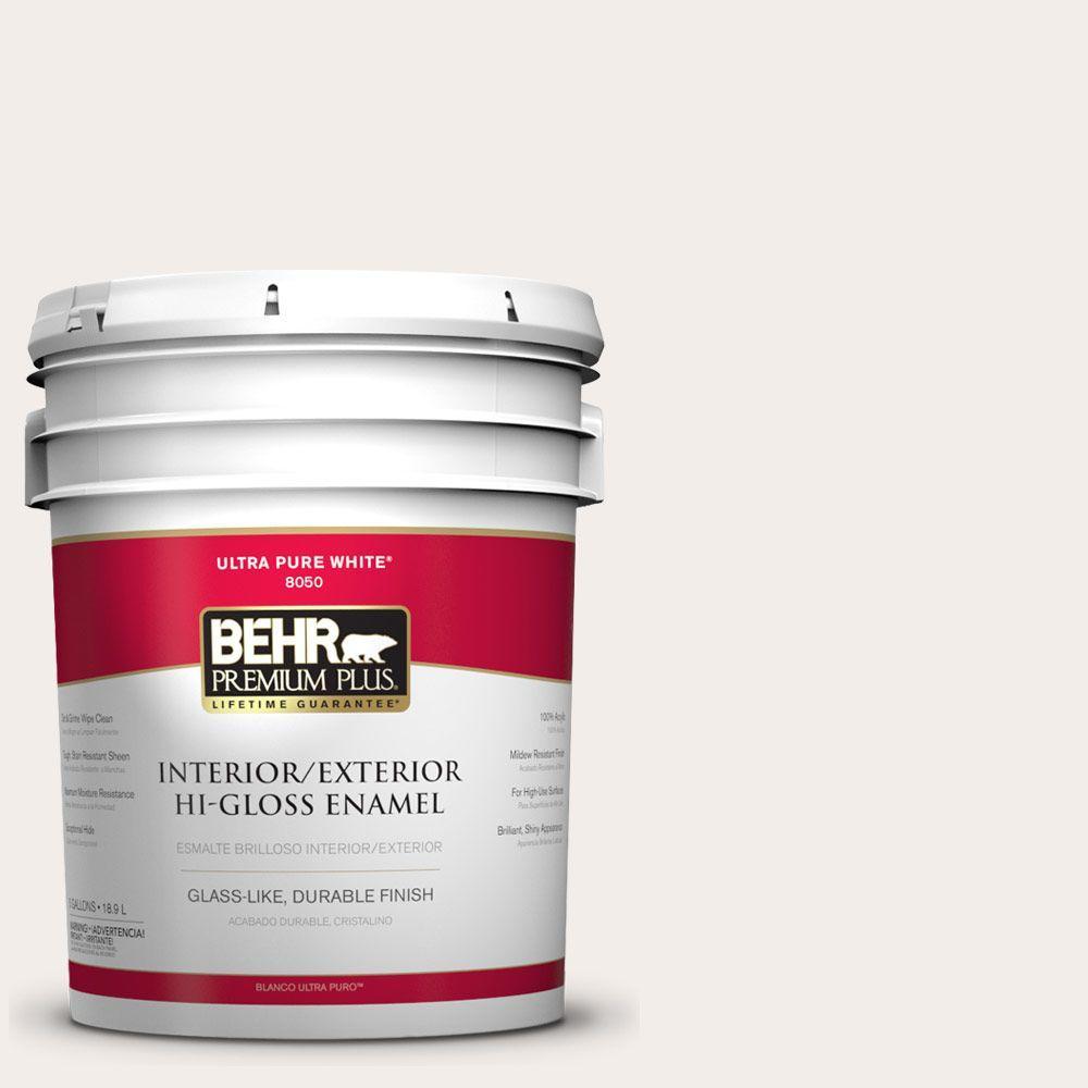 BEHR Premium Plus 5-gal. #pwn-26 Icing Rose Hi-Gloss Enamel Interior/Exterior Paint, Whites