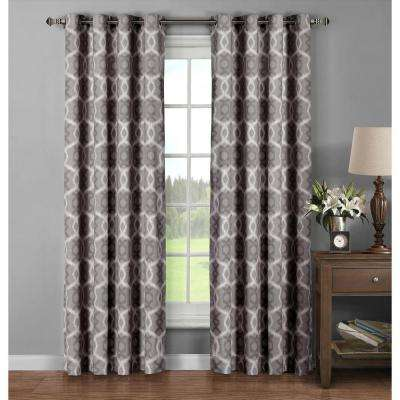 Semi-Opaque Avila Printed Cotton Extra Wide 96 in. L Grommet Curtain Panel Pair, Charcoal (Set of 2)